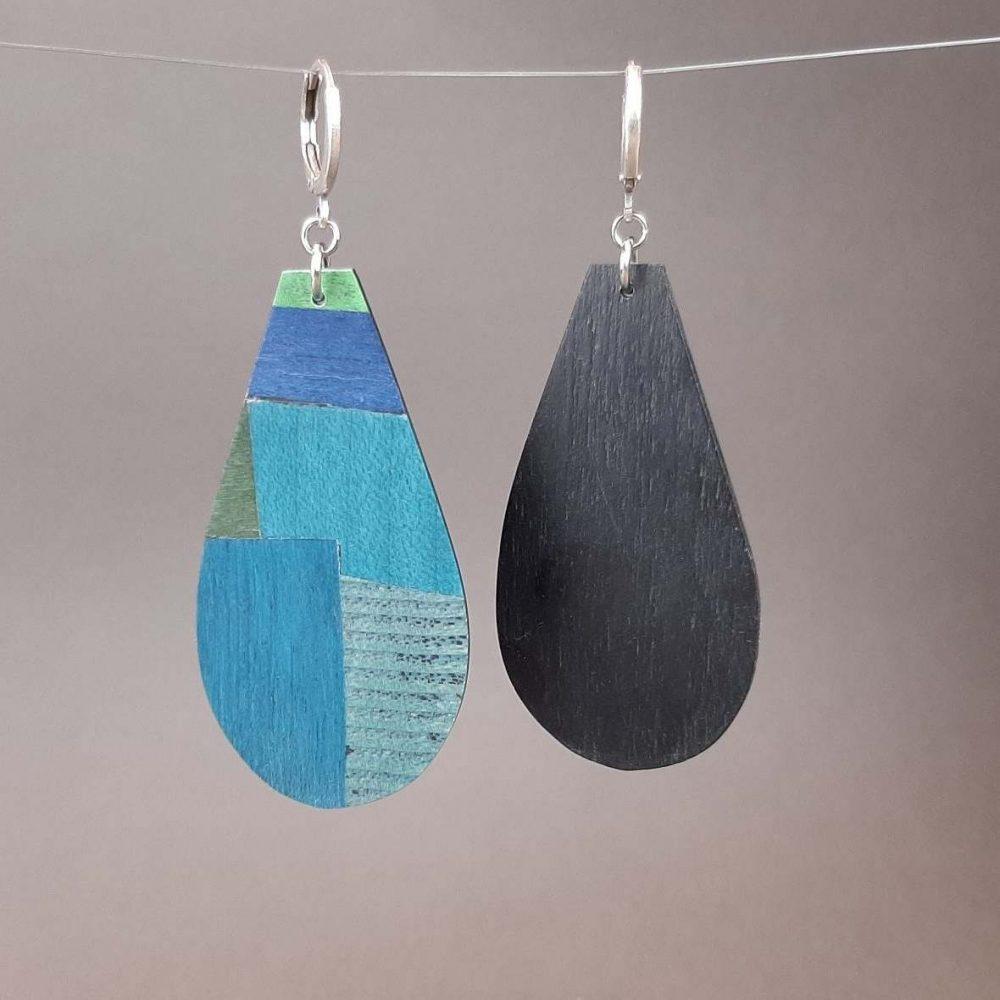 Boucles d'oreilles en bois variation de bleus