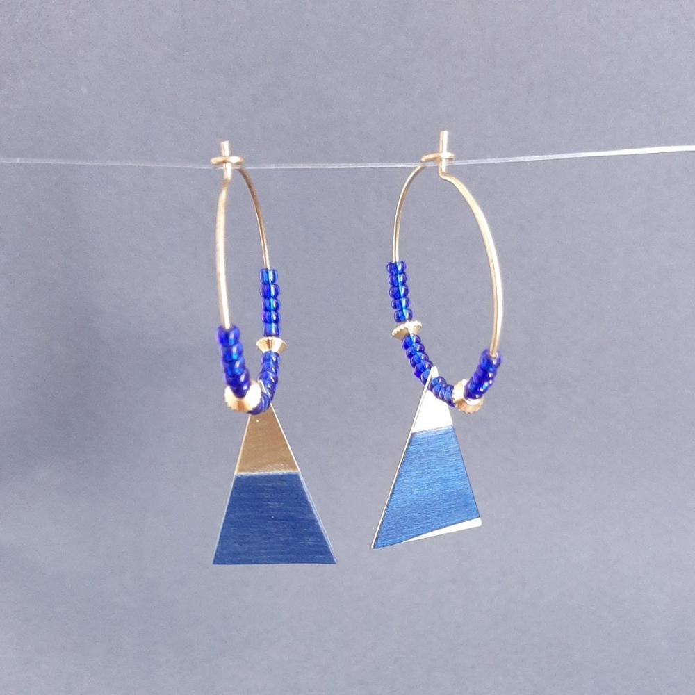 Boucles d'oreilles en laiton doré et tulipier bleu – perles de rocailles | collection 2021