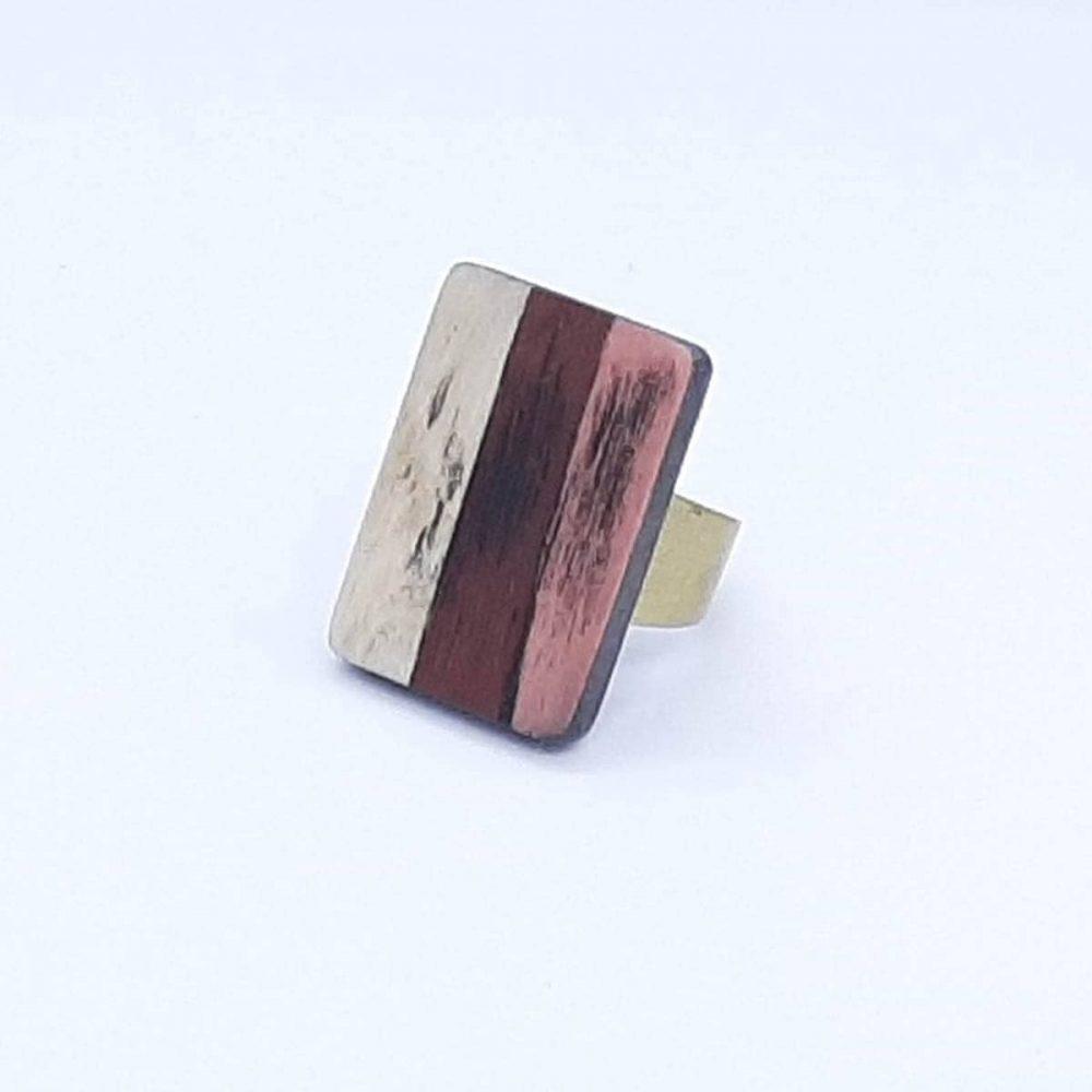 Bague en bois blanc marron et cuivre fait main