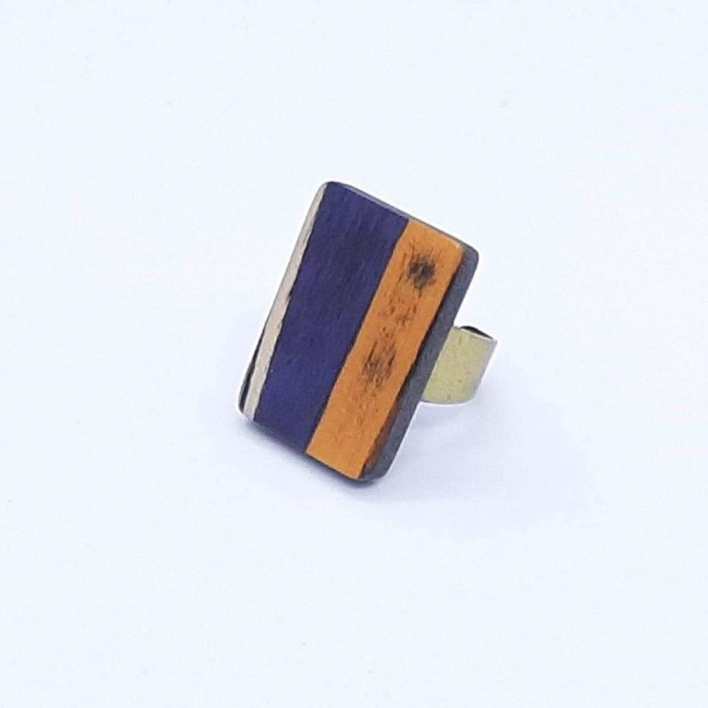 bague-bois-fait-main-rectangle-orange-violet-profil