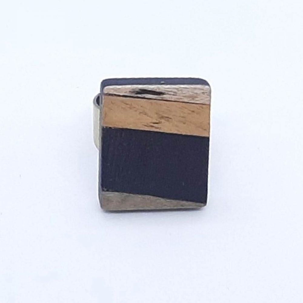 Bague en bois rectangle or et bleu