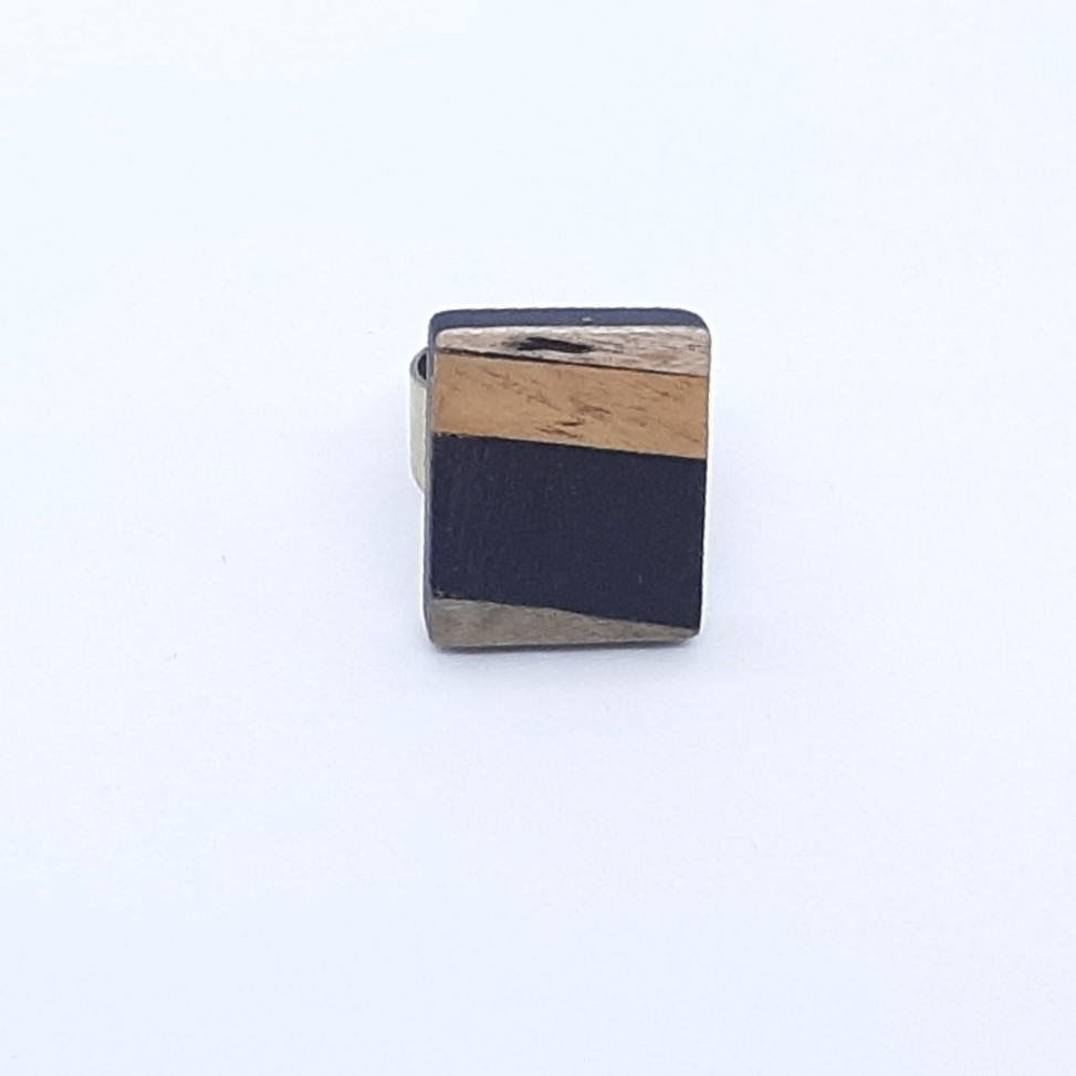 Bague en bois rectangle or et bleu