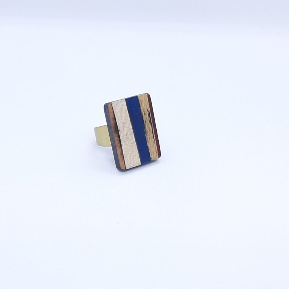 Bague en Bois Rectangle Bleu et Or