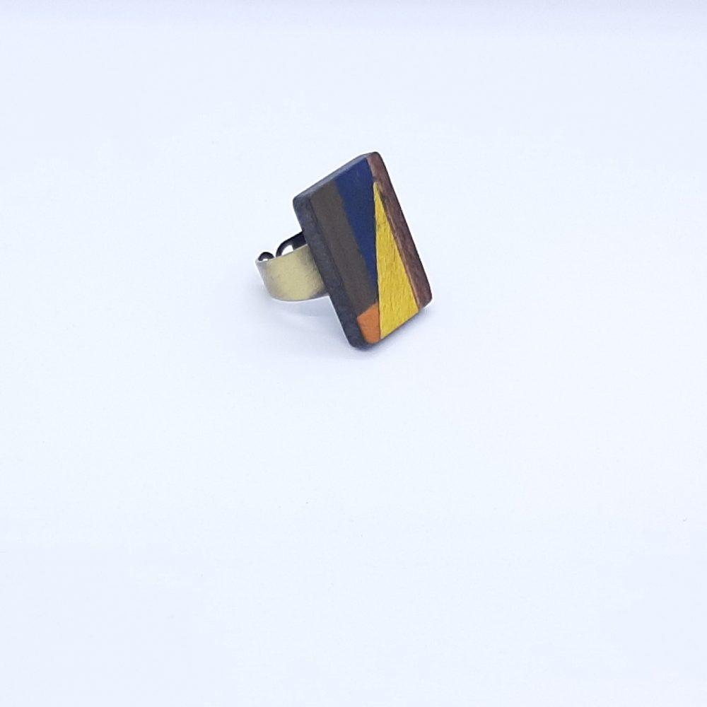Bague en bois rectangle jaune et bleu